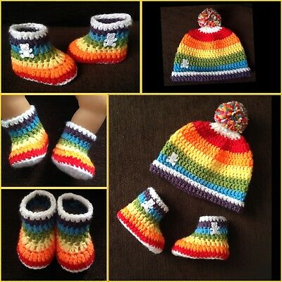 Handmade Crochet Baby Boy girl rainbow teddy booties & hat 0-6 Months blue red