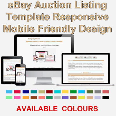Tan eBay Auction Listing Template HTML Responsive Mobile 2018