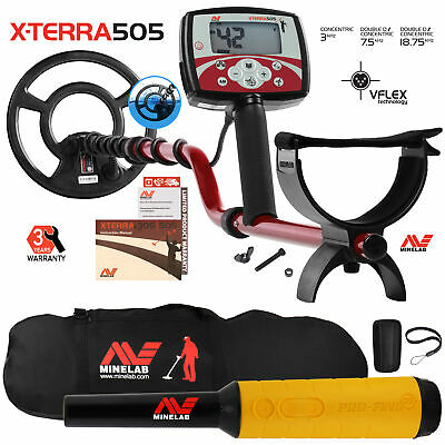 """Minelab X-Terra 505 Metal Detector with 9"""" Search Coil, Pro Find 35, Carry Bag"""
