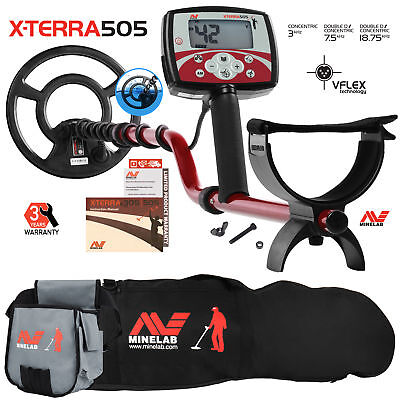 """Minelab X-Terra 505 Metal Detector with 9"""" Search Coil, Carry Bag, Finds Pouch"""