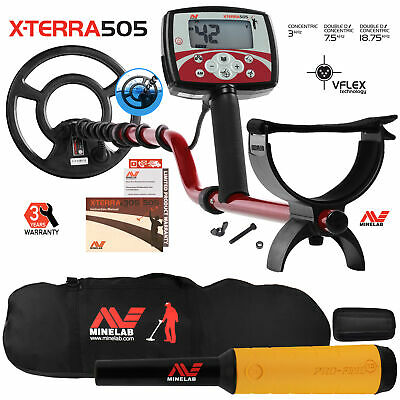 """Minelab X-Terra 505 Metal Detector with 9"""" Search Coil, Pro Find 15, Carry Bag"""