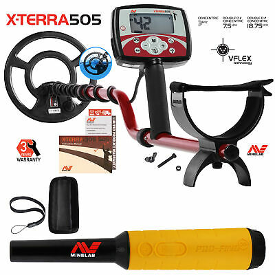 """Minelab X-Terra 505 Metal Detector with 9"""" Search Coil & Pro Find 35 Pinpointer"""