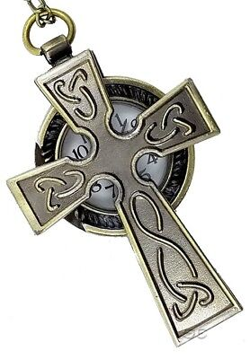 "Celtic Irish Watch Necklace Antique Bronze Cross w Knotwork w 30"" Chain"