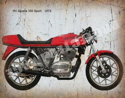 MV Agusta 350 Sport 1975  MOTORCYCLE  RETRO METAL TIN SIGN POSTER WALL PLAQUE
