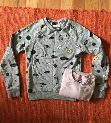Lot of 2 Women's H&M Divided Pullover Sweatshirt Top Pink & Space Stars Moon XS