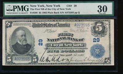 AC 1902 PB $5 First National Bank of the City of New York, NY ch #29 PMG 30
