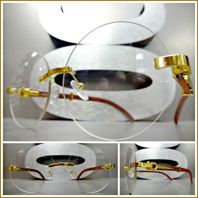 160d79ff803 Mens Classy Sophisticated Style Clear Lens EYE GLASSES Gold   Wood Rimless  Frame