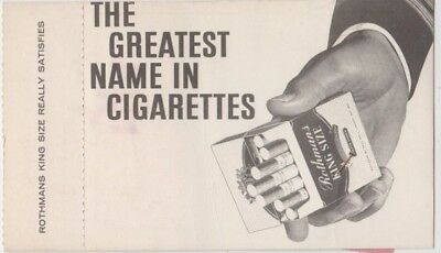 Rothmans Cigarette advertising on back French airlines flight boarding pass