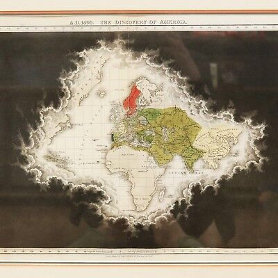 1830 Framed Seeley & Burnside Map - AD 1498 Discovery Of America from Quin Atlas