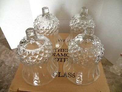 HOMCO Home Interiors Short Diamond Cathedral Votive Cups Candle Holders 4 NIB