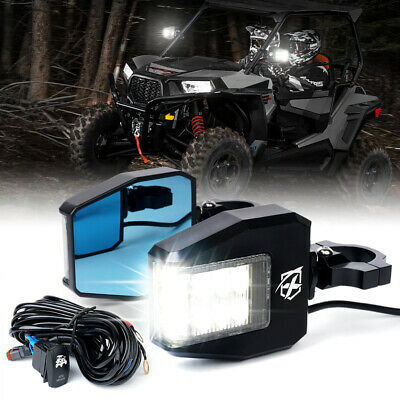 Xprite UTV RZR Rear Side Mirrors with LED Spot Lights and Adjustable Clear Lens