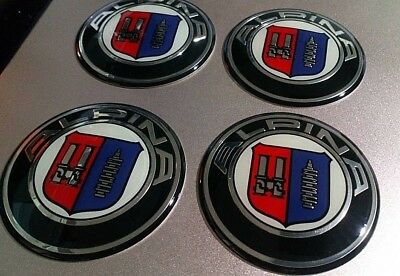 4 x 65mm Alpina Epoxy Resin Coating Aluminium Base Centre cap Stickers/Emblem