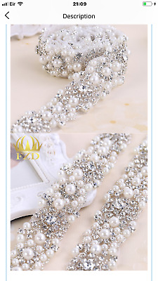 Wedding Bridesmaid Pearls Silver Sparkling  Rhinestone Belt Sash