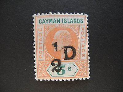CAYMAN ISLANDS STAMP KEVII 1/2D on 5s SC#18 1907-1908 MLH