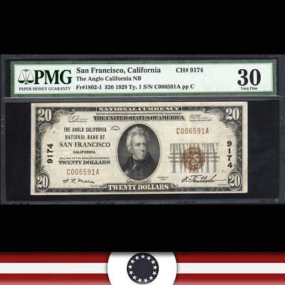 1929 $20 SAN FRANCISCO, CA National Currency PMG 30   C006591A