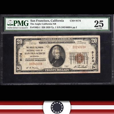 1929 $20 SAN FRANCISCO, CA National Currency PMG 25   D024009A