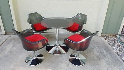 Vintage Mcm Chromcraft Tulip Dining Set, Smoked Glass Table, Lucite Arm Chairs