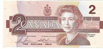 Recalled 1986 Canadian Currency 2 Two Dollar Canada EGU0334158 Uncirculated
