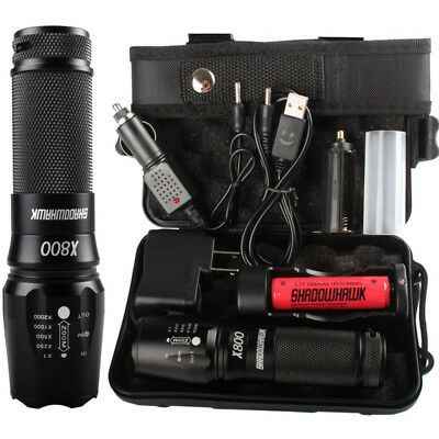 T6 Tactical Military LED Flashlight Torch 50000LM Zoom 3-Mode Outdoor Camping