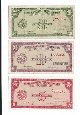 3 PHILIPPINES  1949 notes 5 , 10 , 20 CENTAVOS P-126 , P-128  ,  P-130