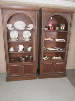 57122 PAIR  Tall Open  Bookcase Curio Cabinet s