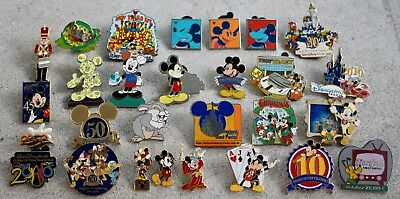 Disneyland Trading 28 Pin Lot Mickey Minnie DLP Cast Anniversary Disney Pins