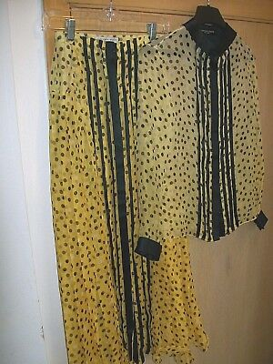 Geoffrey Beene vintage skirt and blouse pre owned yellow black white sz 6 silk