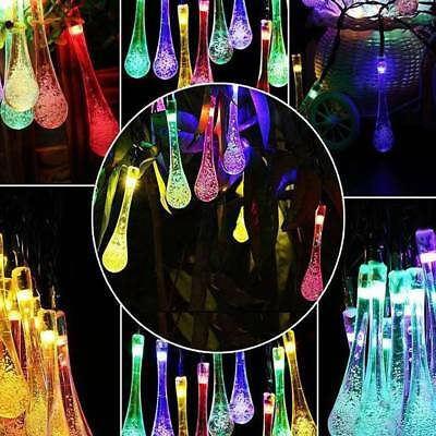 20 LEDs Raindrop String Lights with Solar Panel Outdoor Solar Powered Lamp Decor