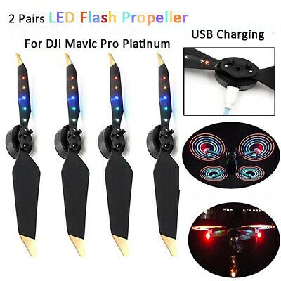 2 Pairs LED Flash Propellers USB Chargeable For DJI Mavic Pro Platinum Accessory