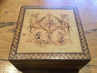 Vintage Hand Carved and inlaid Hardwood Wooden Box - Treen item