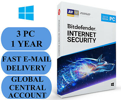 Bitdefender Internet Security 3 PC 1 YEAR + FEE VPN ACCOUNT SUBSCRIPTION 2019