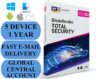 Bitdefender Total Security 5 DEVICE 1 YEAR + FEE VPN ACCOUNT SUBSCRIPTION 2019