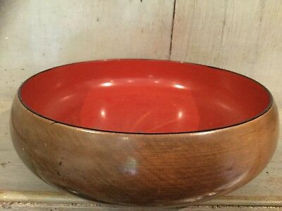 VINTAGE HAND TURNED TREEN WOODEN BOWL COLLECTABLE Interior Painted & Lacquered