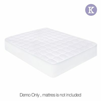 Fully Fitted Cotton Cover Quilted Bed Mattress Topper Underlay KING @TOP
