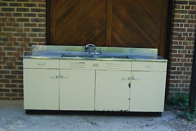 1930 kitchen unit by EZEE twin sink and drainer, steel doors requires renovation