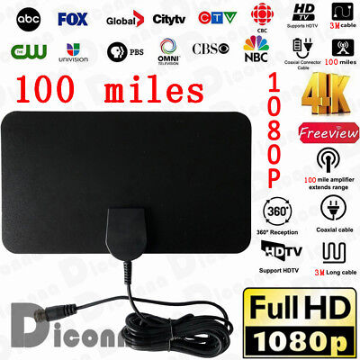 Indoor HD 4K TV HDTV 1080P Antenna VHF UHF Fox with Amplifier Bandit 100 Miles