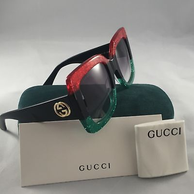 Authentic New*Gucci*Sunglasses GG0083 Red Green Frame Black Black Lens