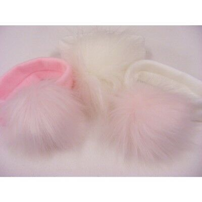 Kinder Baby & Girls Spanish Style Romany Soft Knitted Headband Faux Fur Pom Pom