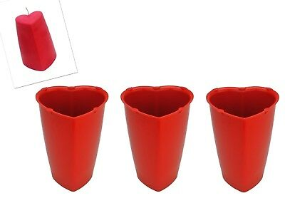 3x Valentine Heart Shaped Candle Making Moulds, Tapered Sides, 120mm Tall. S7732