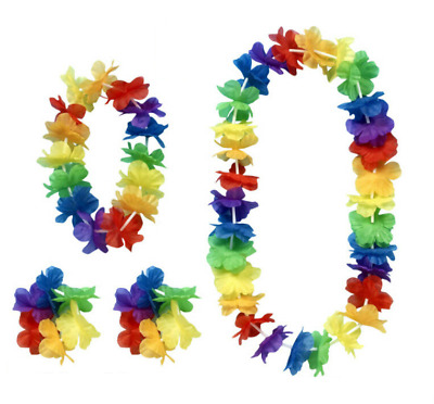1 x 4 piece Hawaiian Flower Lei Hula Necklace Garland Headband Wristbands HW031