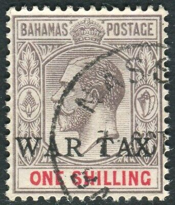 BAHAMAS-1918 1/- Grey Black & Carmine WAR STAMP.  A fine used example Sg 95