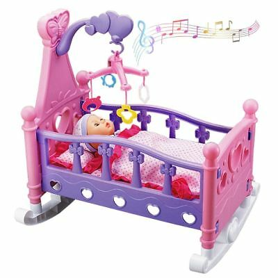 deAO Toys Baby Doll Cradle Rocking Musical Cot including Rotating Mobile & Doll