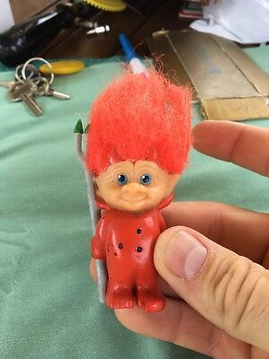 Vintage 1992 Croner Devil Red Hair Pitchfork Troll Toy