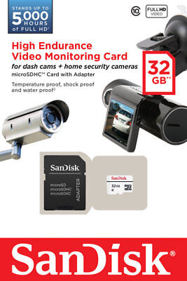 Sandisk 32GB Video Monitoring microSDHC Memory Card + Adapter