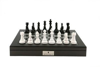 Dal Rossi Italy Black/White Chess Set on Carbon Fibre Shiny Finish Chess Box 20""
