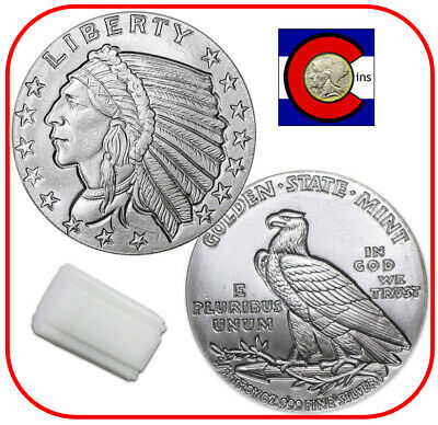 Incuse Indian Silver Bullion -- Tube of 1/2 oz Silver Rounds -- 20 Coin Roll