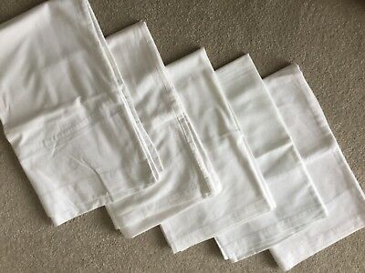Vintage Bed Linen - 5 Pillowcases Plain White Cotton Used