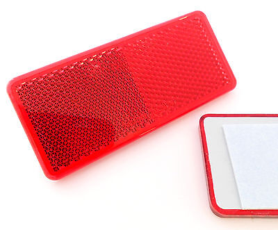 2x Self-Adhesive Red Oblong Rectangular Trailer Caravan Rear Reflectors 90x40mm