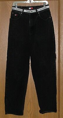 MENS VINTAGE TOMMY JEANS TOMMY HILFIGER HIGH RISE SPELL OUT BLACK JEANS 30x33 !