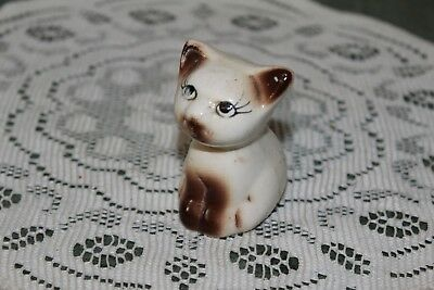 Vintage...estate....white And  Brown  Ceramic  Cat......figurine/ Mini  Planter